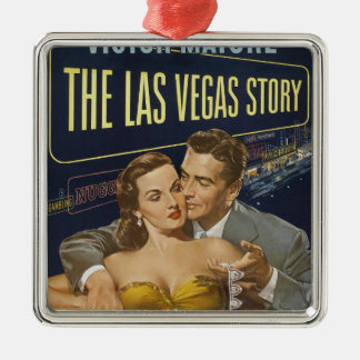 Las Vegas poster Silver-Colored Square Decoration