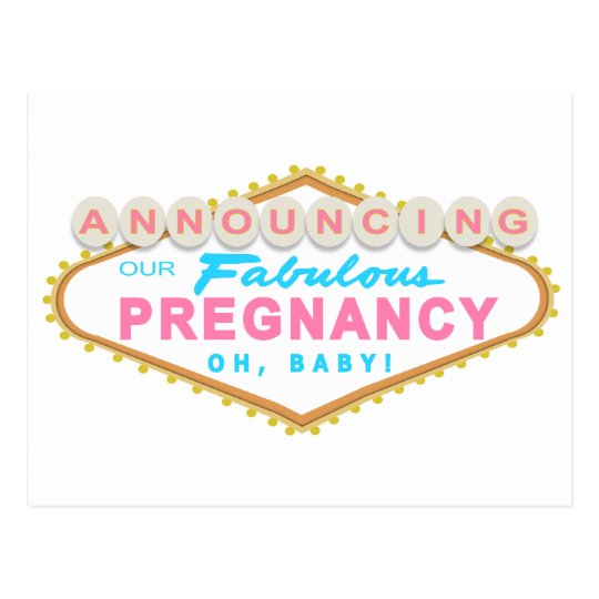 Las Vegas Pregnancy Announcement Postcard