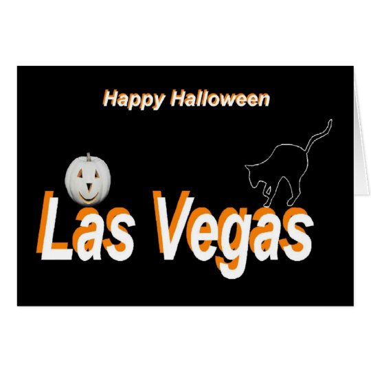 Las Vegas Pumpkin/ Silhouette Cat Halloween Card