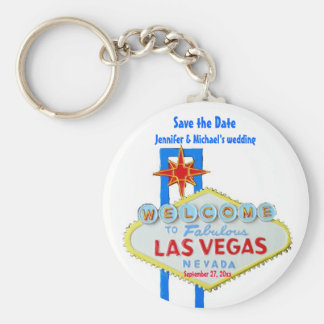 Las Vegas Save the Date Customized Occasion Basic Round Button Key Ring