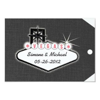 "Las Vegas Save the Date Luggage Tag 3.5"" X 5"" Invitation Card"