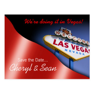 Las Vegas Save The Date metallic red Post Cards