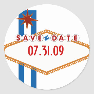 Las Vegas Save the Date Round Sticker