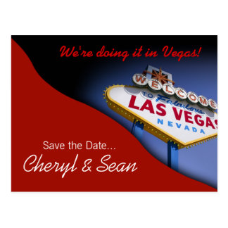 Las Vegas Save The Date (tomato red) Postcard