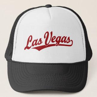 Las Vegas script logo in red Trucker Hat