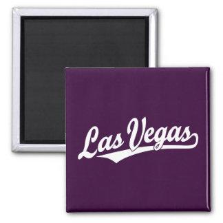 Las Vegas script logo in white Square Magnet