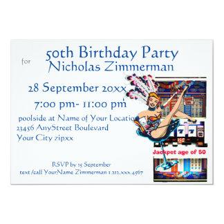 Las Vegas Showgirl and Slot Machine Birthday 13 Cm X 18 Cm Invitation Card
