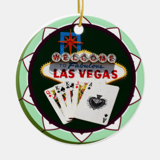 Las Vegas Sign And Two Kings Poker Chip Christmas Ornament