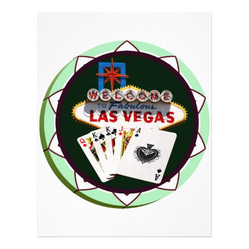 Las Vegas Sign And Two Kings Poker Chip 21.5 Cm X 28 Cm Flyer