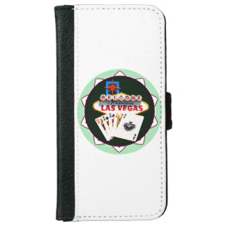 Las Vegas Sign And Two Kings Poker Chip iPhone 6 Wallet Case