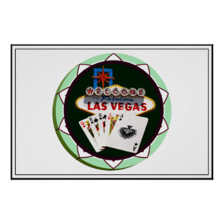 Las Vegas Sign And Two Kings Poker Chip Poster