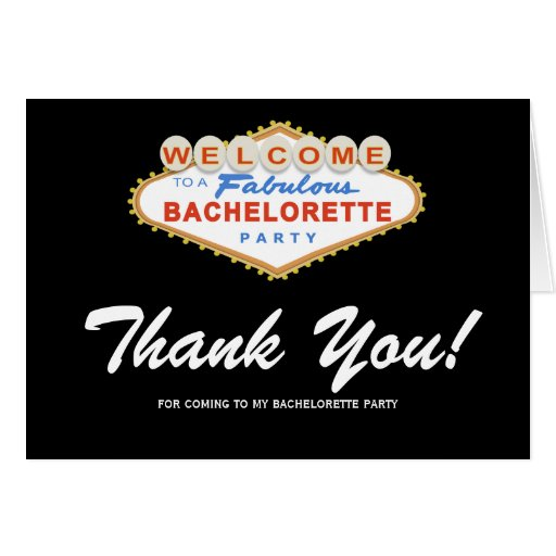 las vegas sign bachelorette party thank you card  zazzle