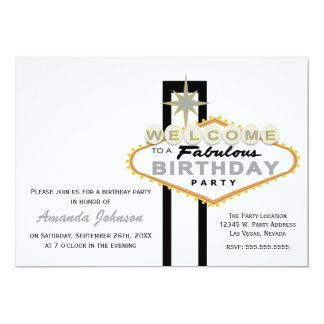 Las Vegas Sign Birthday Party Invitation