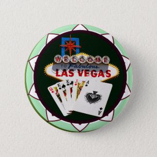 Las Vegas Sign & Cards Poker Chip 6 Cm Round Badge