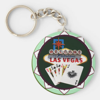 Las Vegas Sign Cards Poker Chip Keychain