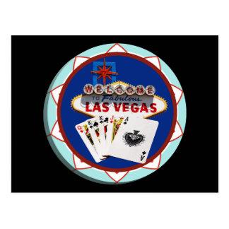 Las Vegas Sign Cards Poker Chip Post Card