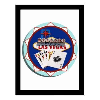 Las Vegas Sign & Cards Poker Chip Postcard