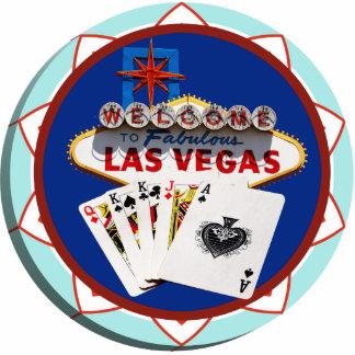 Las Vegas Sign & Cards Poker Chip Standing Photo Sculpture