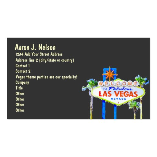 Las Vegas Sign Casino Theme Party Planner Business Cards
