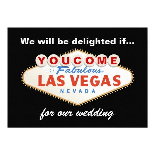 Las Vegas sign destination wedding invitation Card