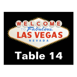 Las Vegas sign destination wedding table number Postcard