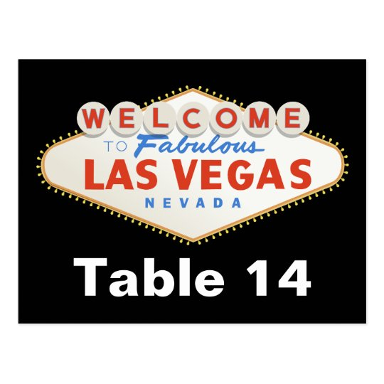 Las Vegas sign destination wedding table number Postcard