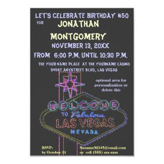 Las Vegas Sign Fiftieth Birthday Party 9 Cm X 13 Cm Invitation Card