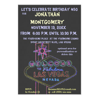 Las Vegas Sign Fiftieth Birthday Party Personalized Announcement