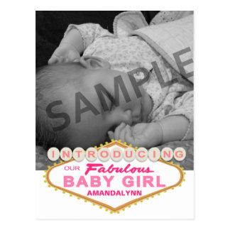 Las Vegas Sign Girl Birth Announcement Postcard