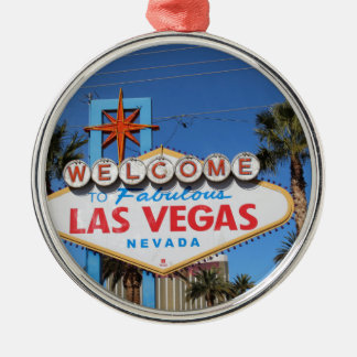 Las Vegas Sign Nevada Casino Gambling Landmark Silver-Colored Round Decoration