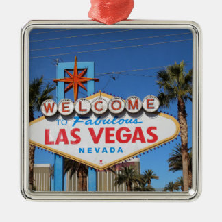 Las Vegas Sign Nevada Casino Gambling Landmark Silver-Colored Square Decoration