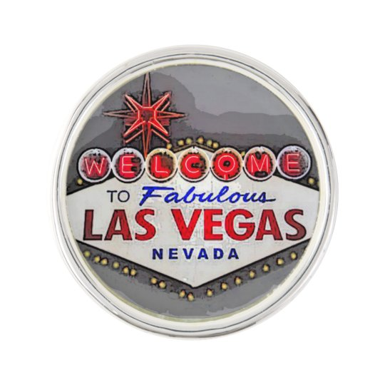 Las Vegas Sign silver grey Lapel Pin
