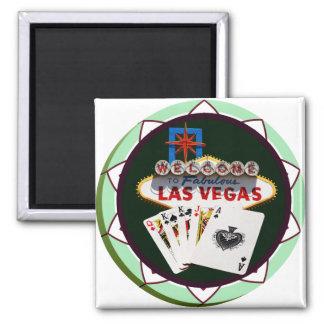 Las Vegas Sign Two Kings Poker Chip Fridge Magnets