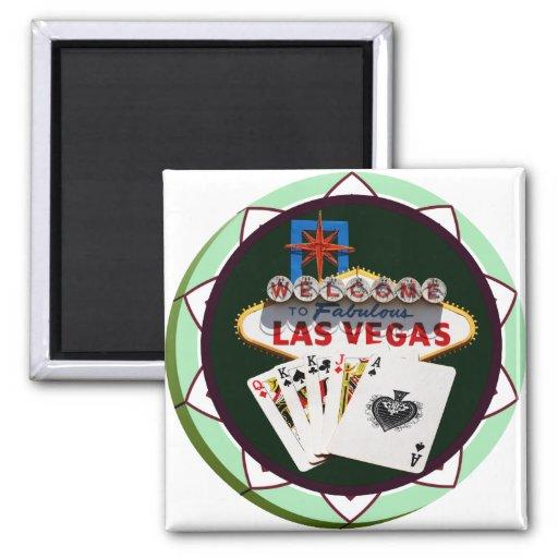 Las Vegas Sign & Two Kings Poker Chip Fridge Magnets