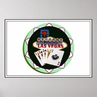 Las Vegas Sign & Two Kings Poker Chip Poster