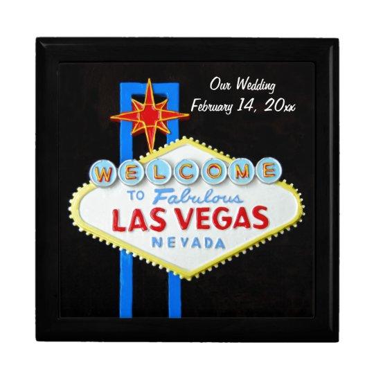 Las Vegas Sign Wedding Date Gift Box