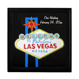 Las Vegas Sign Wedding Date Large Square Gift Box