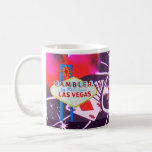 Las Vegas Sign with Casino Dice and Roulette Basic White Mug