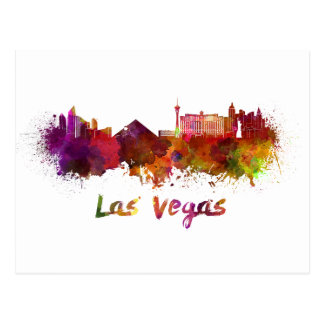 Las Vegas skyline in watercolor Postcard
