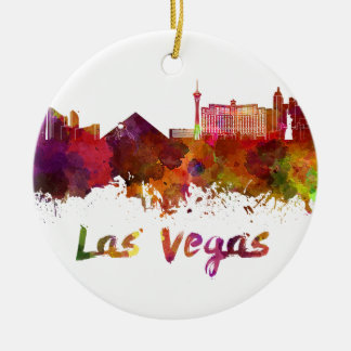 Las Vegas skyline in watercolor Round Ceramic Decoration