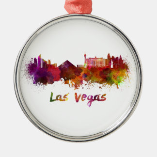 Las Vegas skyline in watercolor Silver-Colored Round Decoration