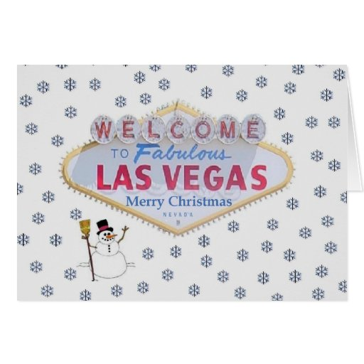 Las Vegas Snowman Merry Christmas Card