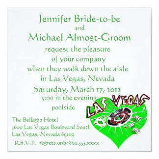 Las Vegas St Patrick's Wedding 13 Cm X 13 Cm Square Invitation Card