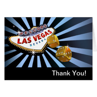 Las Vegas Starburst Thank You baby blue black gold Card