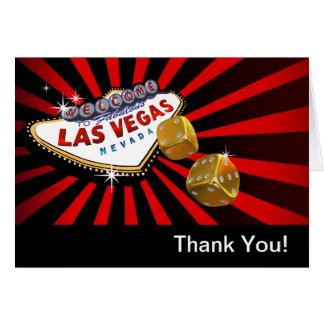 Las Vegas Starburst Thank You red black gold Card