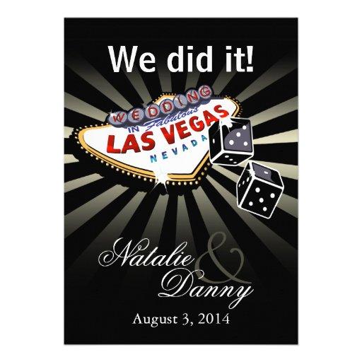 Las Vegas Starburst Wedding Reception silver black Personalized Announcement