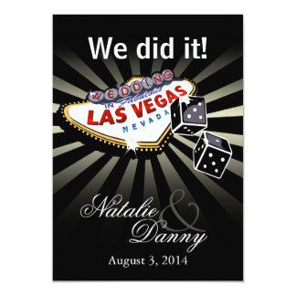 "Las Vegas Starburst Wedding Reception silver black 5"" X 7"" Invitation Card"