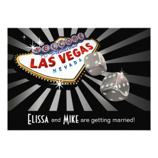 Las Vegas Starburst Wedding silver black Invitations