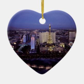 Las Vegas Strip Aerial View Casino Gambling City Ceramic Heart Decoration