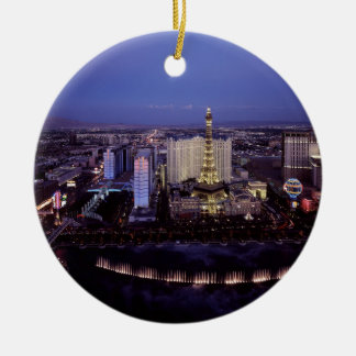 Las Vegas Strip Aerial View Casino Gambling City Round Ceramic Decoration